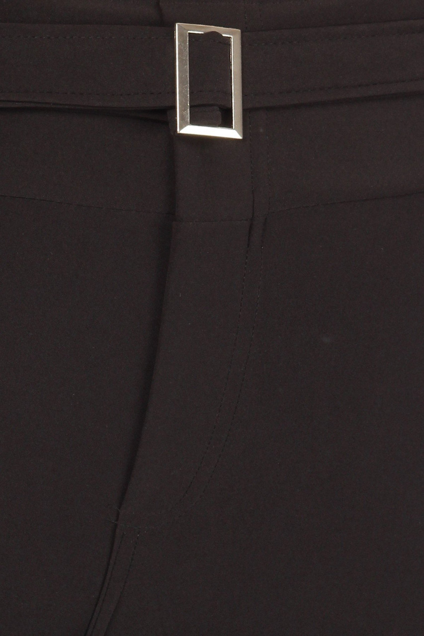 Close up of belt and fly on Black Belted Plus Size Treggings with Pockets