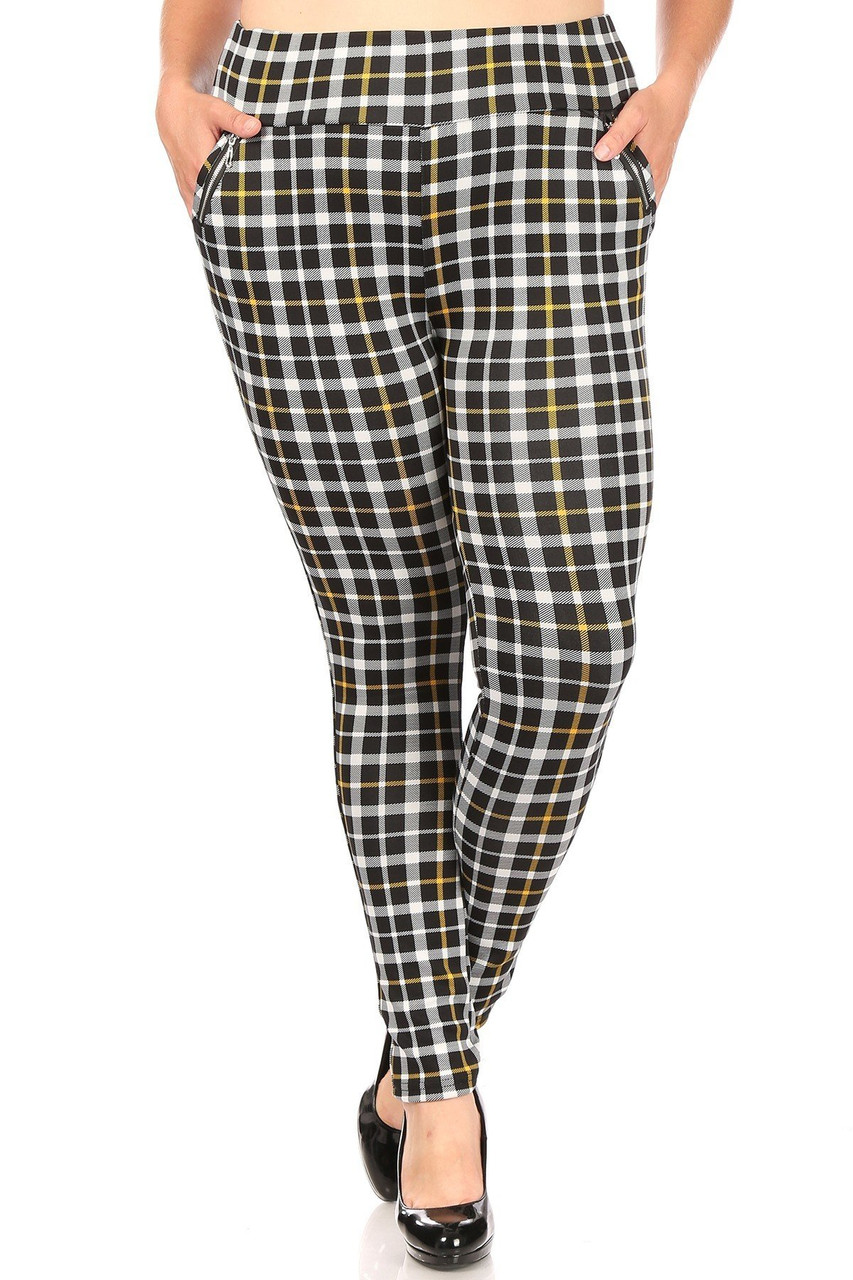 Front of Mustard Accent Plaid High Waisted Plus Size Treggings with Zipper Pockets with a black white design featuring a hint of yellow.