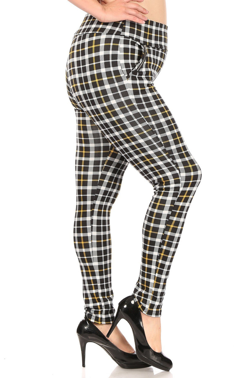 RIght side of Mustard Accent Plaid High Waisted Plus Size Treggings with Zipper Pockets
