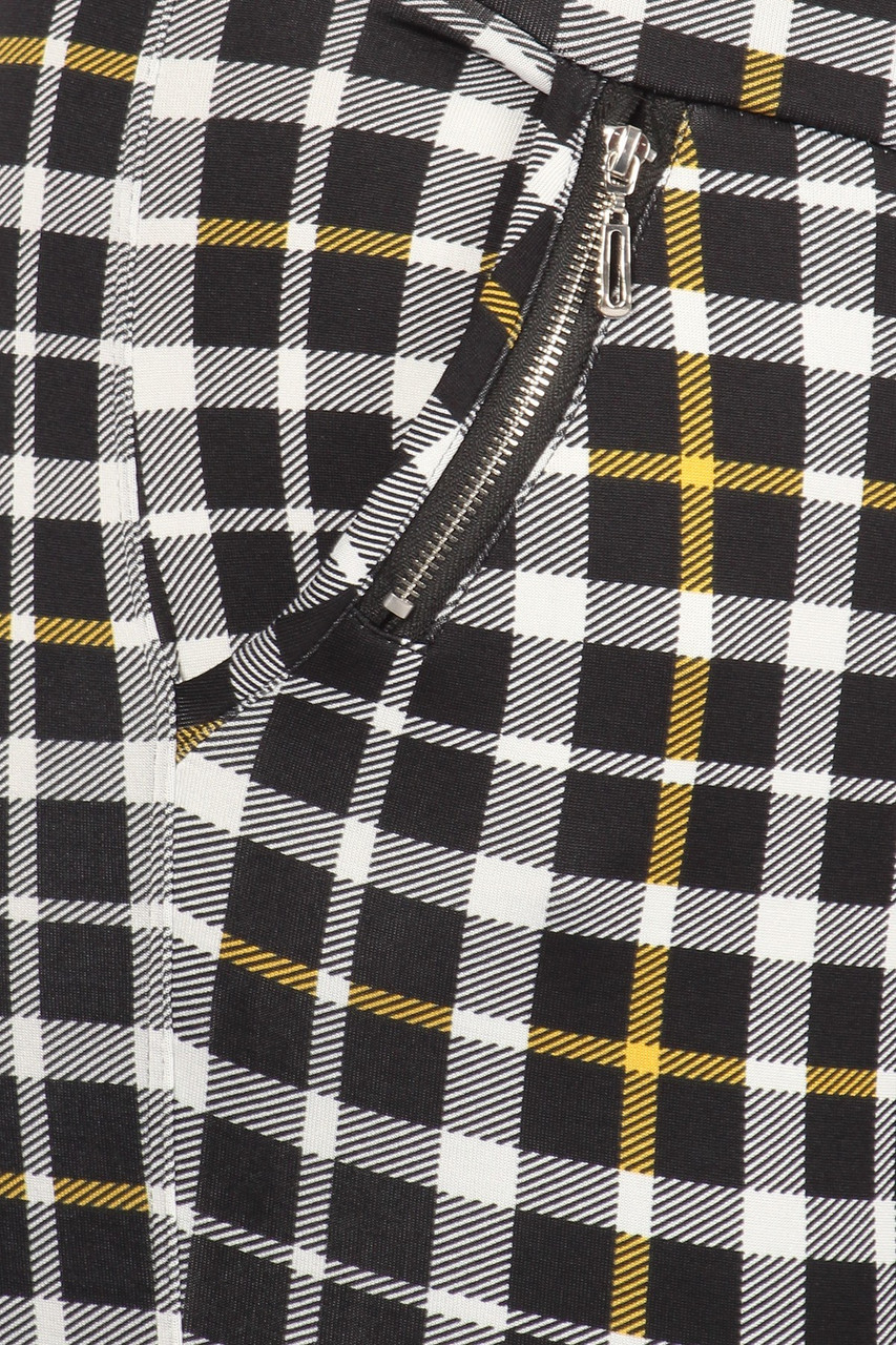 Close-up of Mustard Accent Plaid High Waisted Plus Size Treggings with Zipper Pockets
