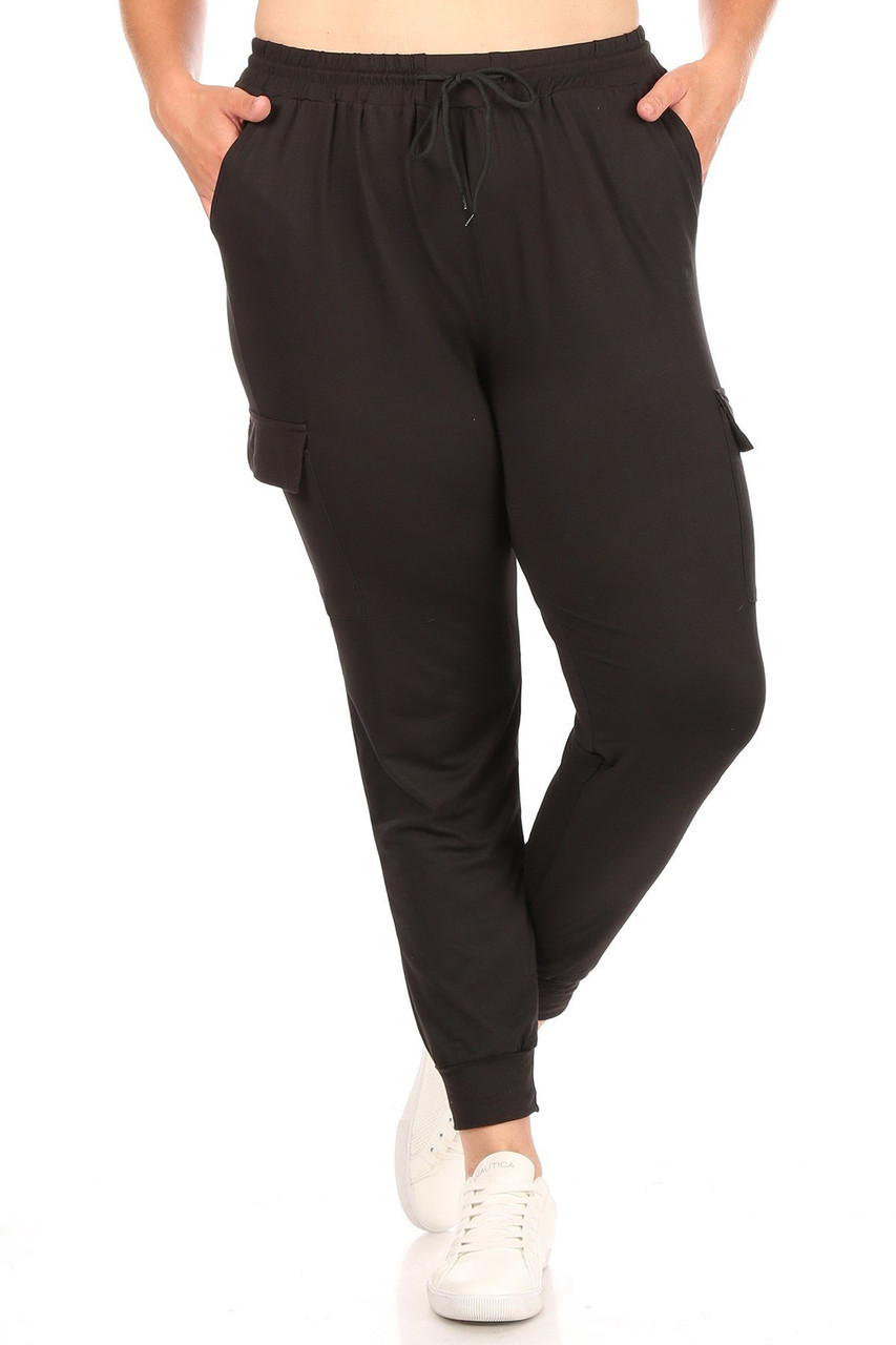 Front of Black Cargo Plus Size Joggers with a versatile solid black look.