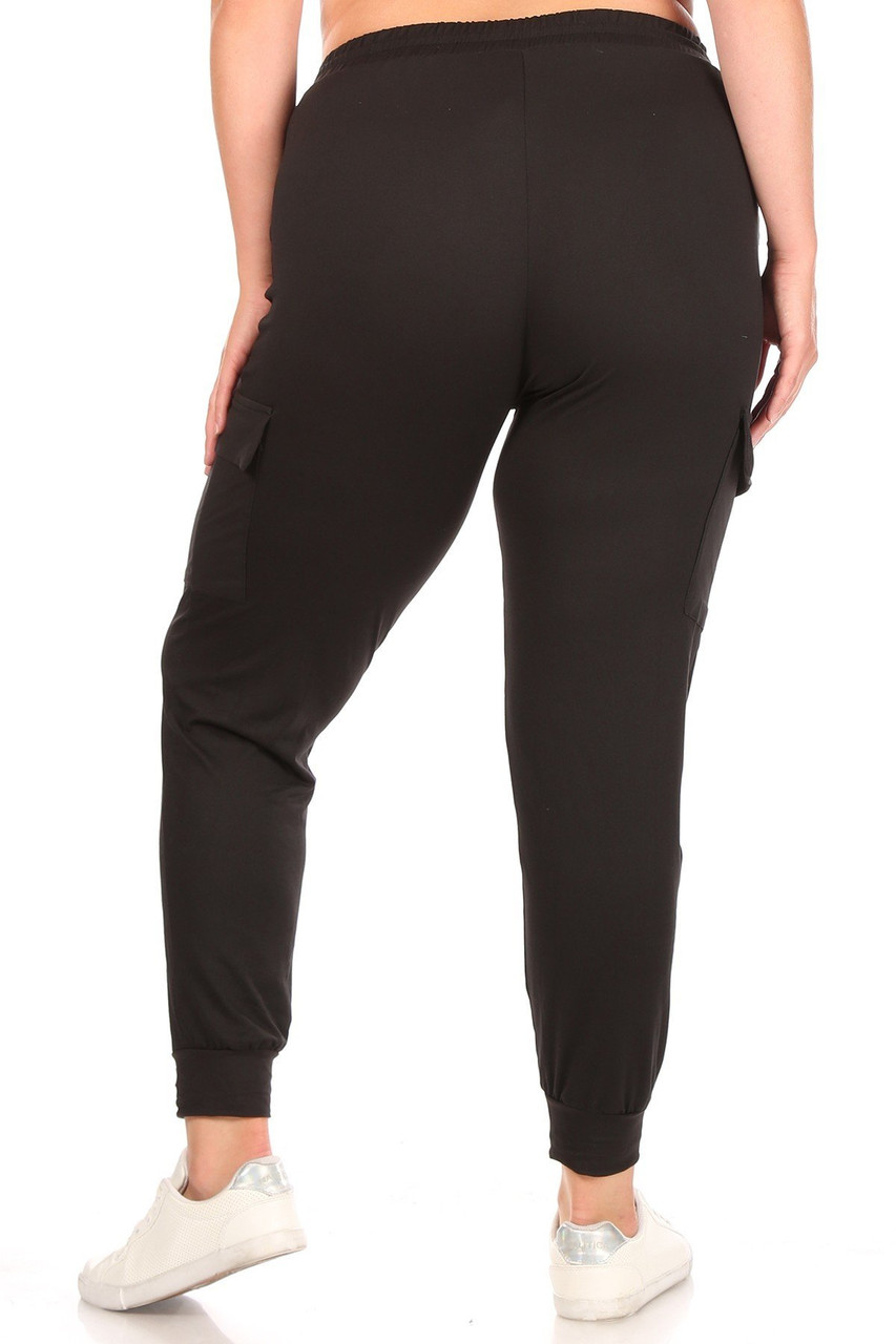 Back image of Black Cargo Plus Size Joggers with a comfortable slightly relaxed fit.