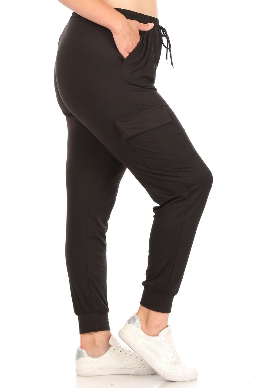 Right side of Black Cargo Plus Size Joggers