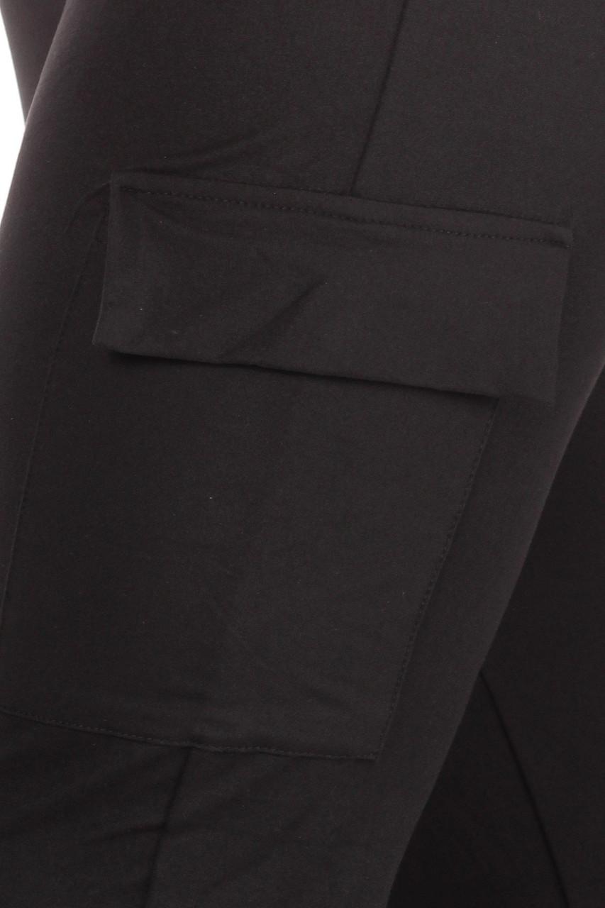 Close-up of pocket on Black Cargo Plus Size Joggers