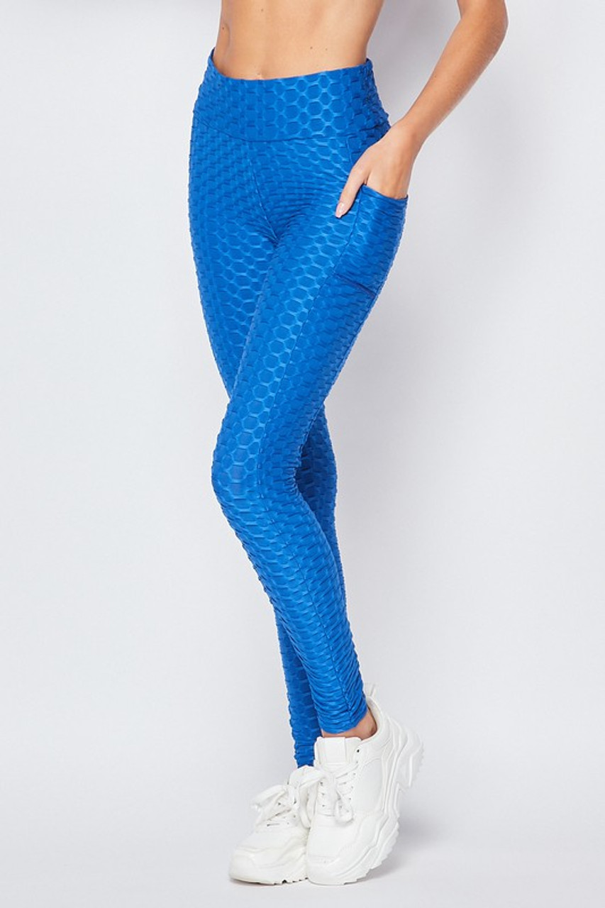 45 degree front view of Blue Scrunch Butt Textured High Waisted Plus Size Leggings with Pockets