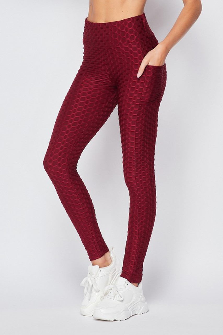 Left side view of Burgundy Scrunch Butt Textured High Waisted Plus Size Leggings with Pockets