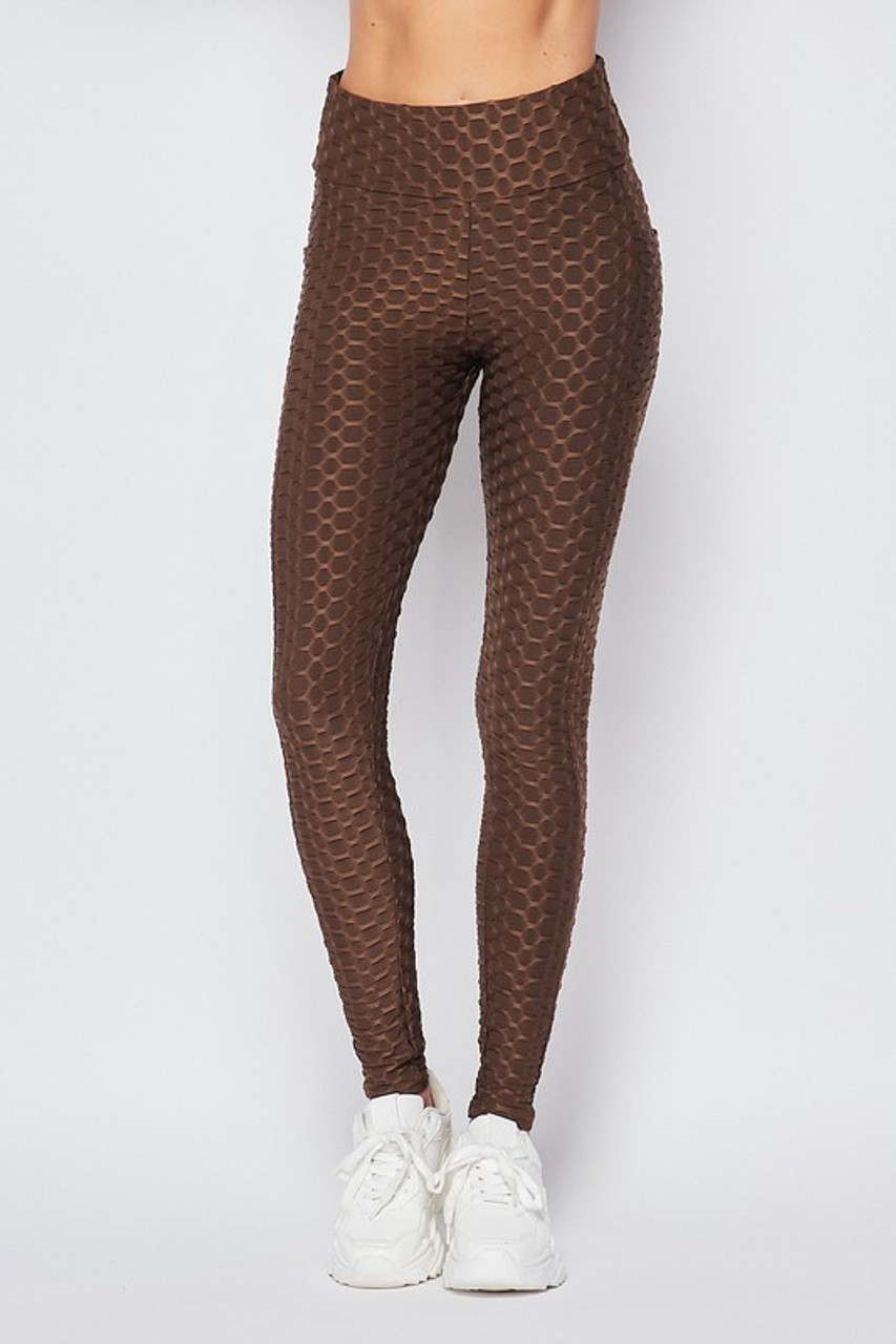 Front view of Brown Scrunch Butt Textured High Waisted Plus Size Leggings with Pockets