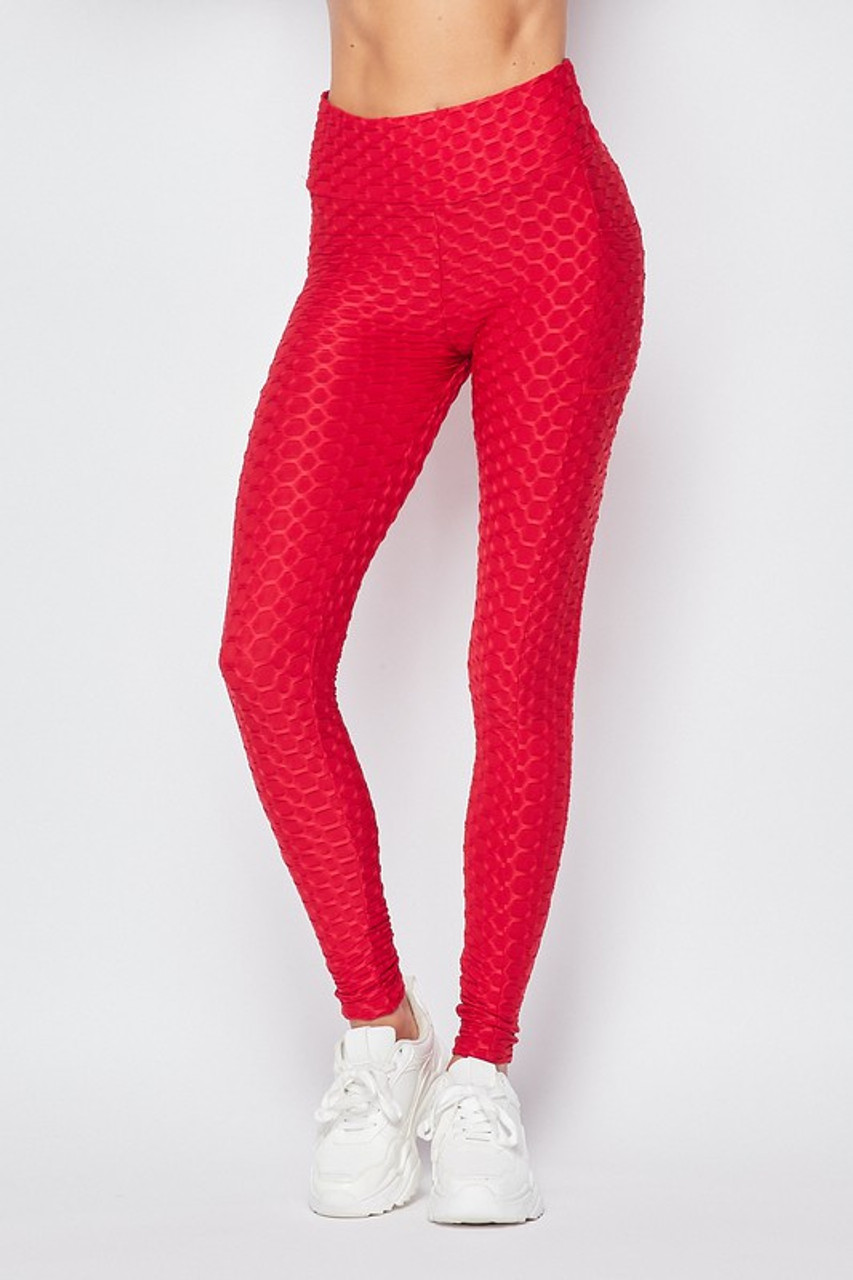 Front view of Red Scrunch Butt Textured High Waisted Plus Size Leggings with Pockets