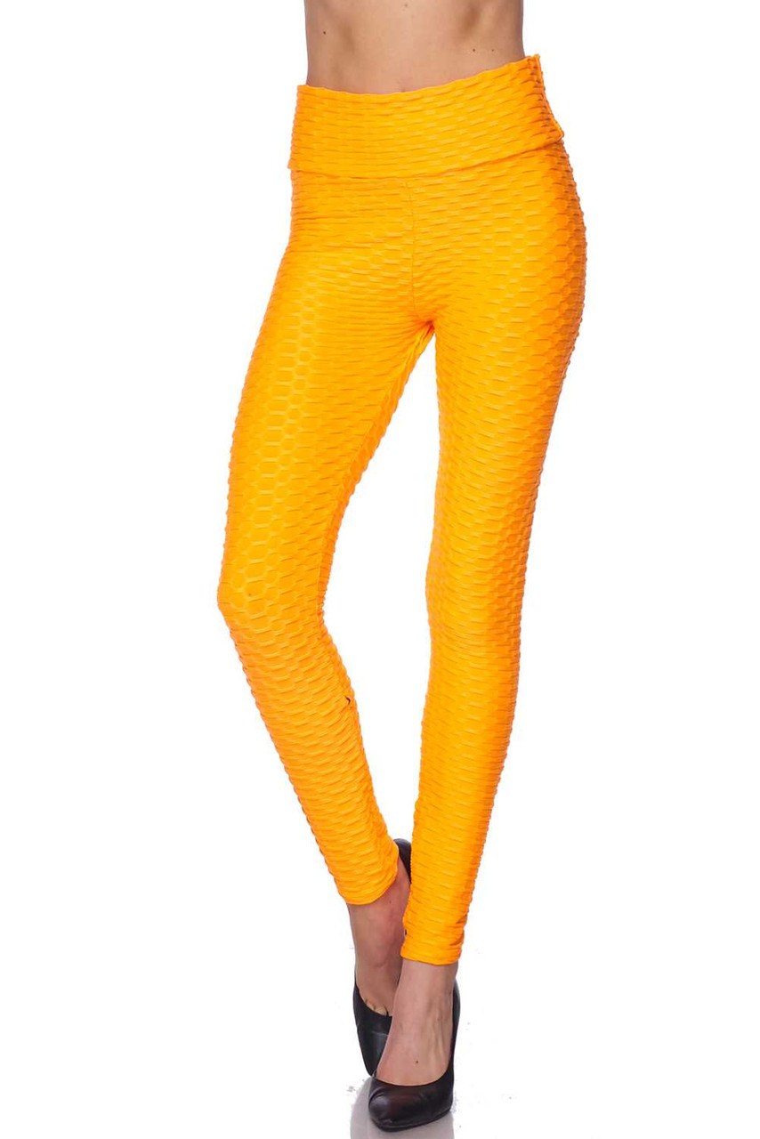 Front view of Neon Orange Scrunch Butt Textured High Waisted Plus Size Leggings with Pockets