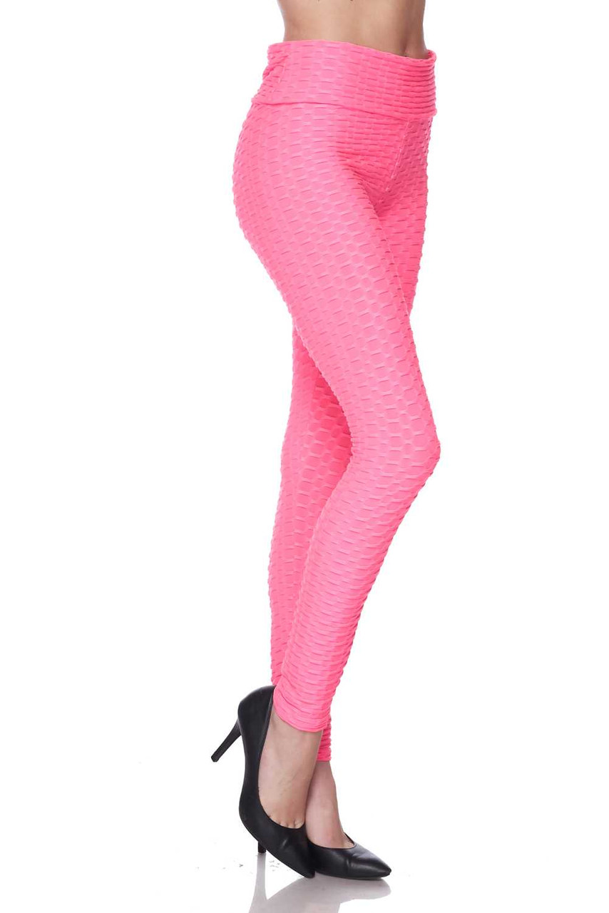 Right side of Neon Pink Scrunch Butt Textured High Waisted Plus Size Leggings with Pockets