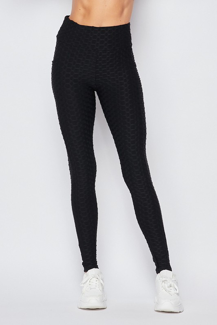 Front view of Black Scrunch Butt Textured High Waisted Plus Size Leggings with Pockets