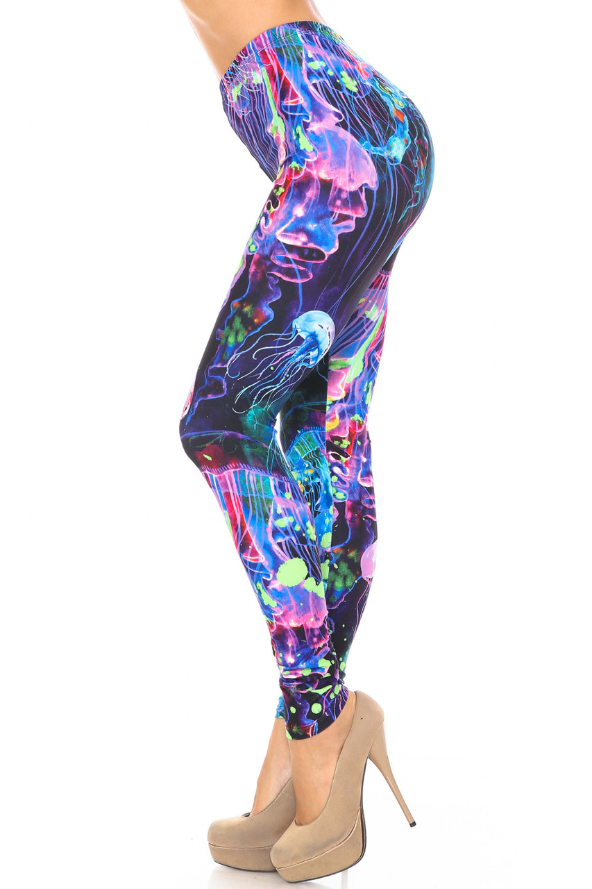 Left side view of Creamy Soft Luminous Jelly Fish Leggings - USA Fashion™