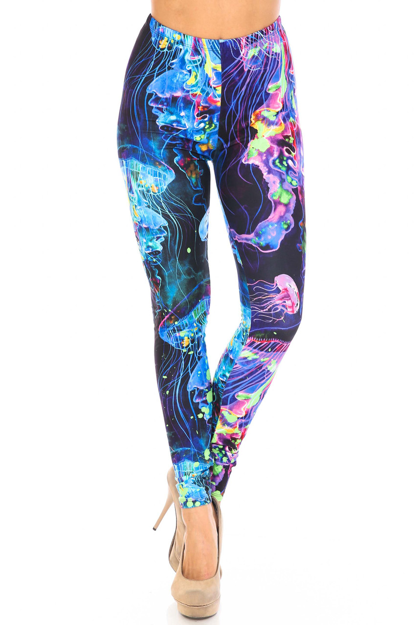 Front view of full length Creamy Soft Luminous Jelly Fish Plus Size Leggings - USA Fashion™ with a fabulous colorful design