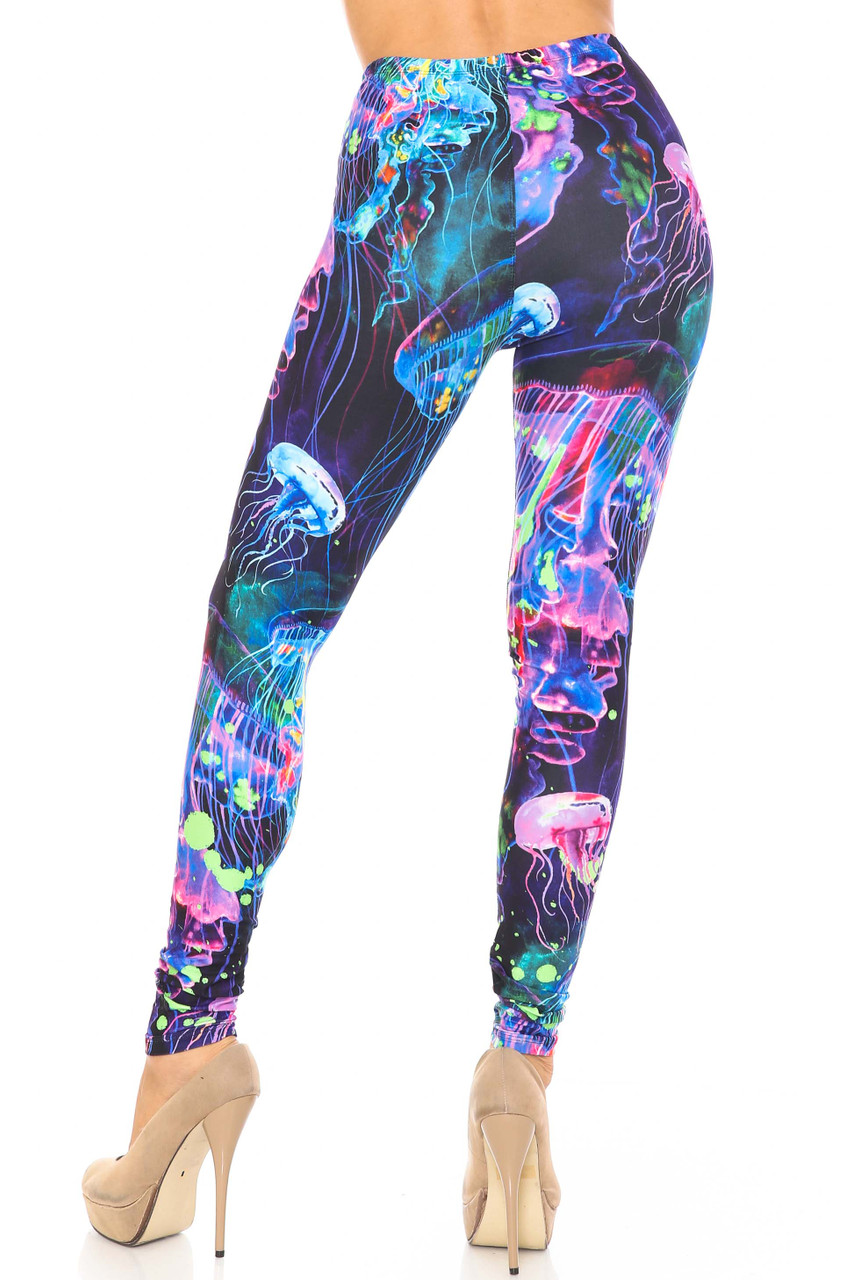 Rear view of body fitted figure flattering Creamy Soft Luminous Jelly Fish Plus Size Leggings - USA Fashion™