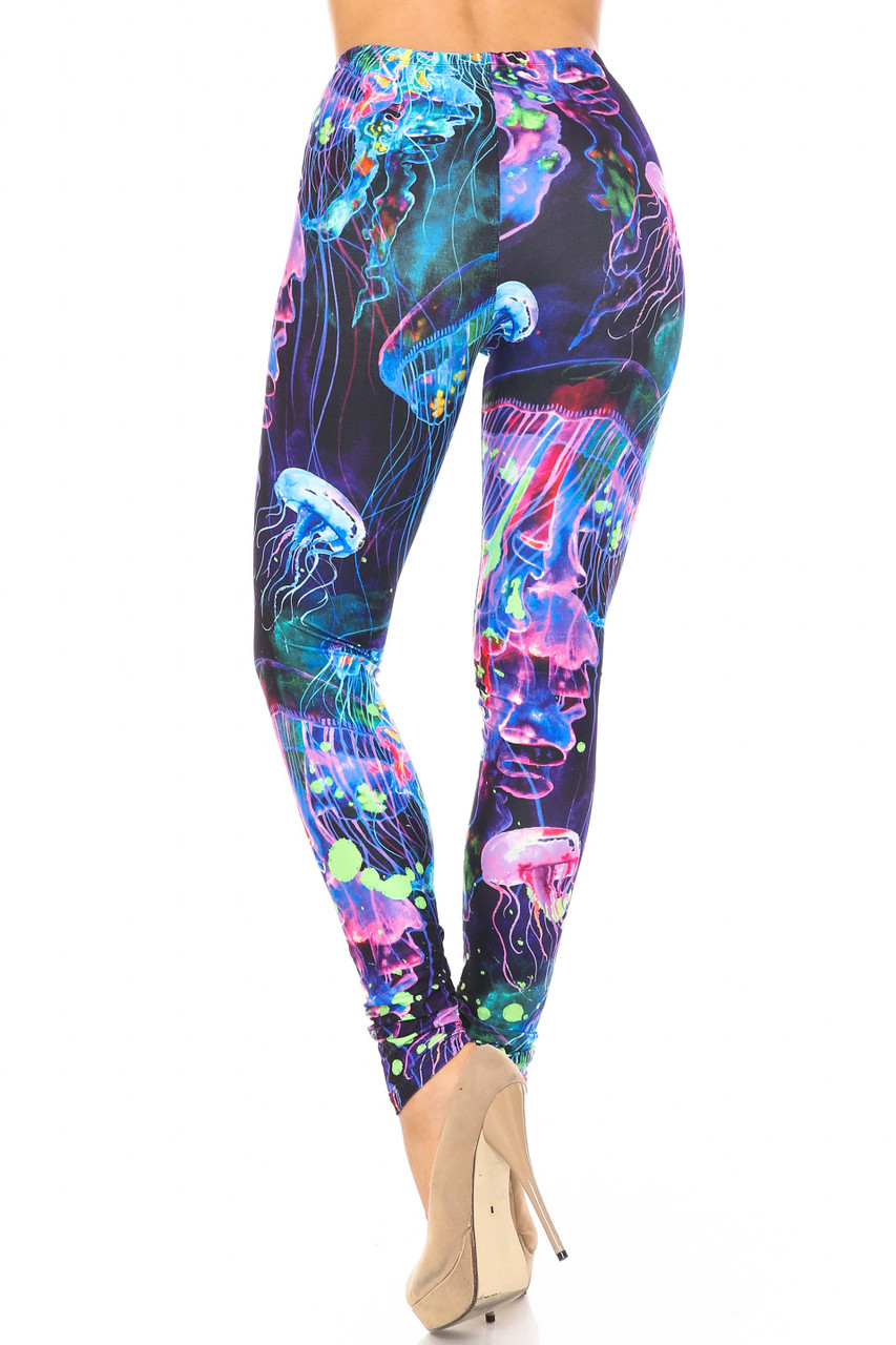 Back view of Creamy Soft Luminous Jelly Fish Plus Size Leggings - USA Fashion™ showing off the all over vibrant design.