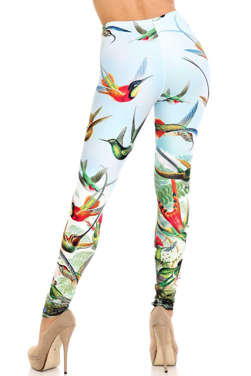 Rear view of figure flattering Creamy Soft Happy Hummingbirds Leggings - USA Fashion™