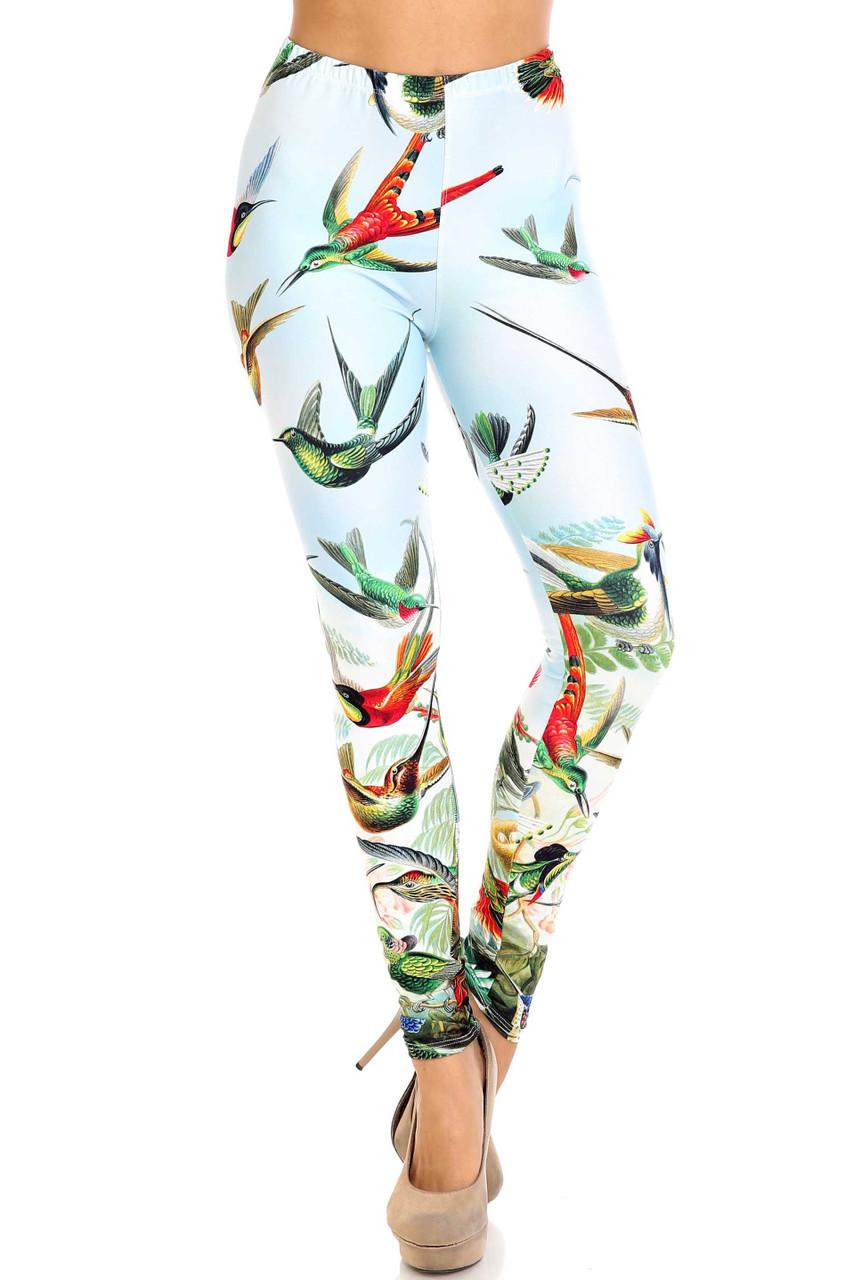 Front view of Creamy Soft Happy Hummingbirds Leggings - USA Fashion™