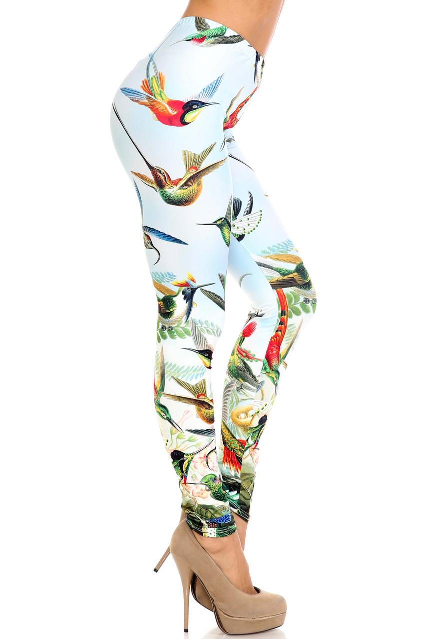 Right size view of Creamy Soft Happy Hummingbirds Leggings - USA Fashion™