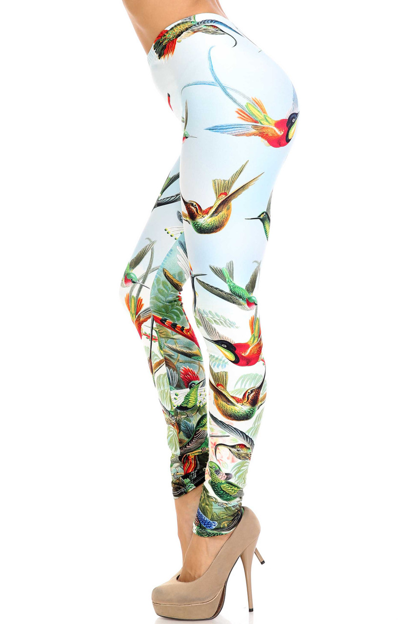 Left size view of Creamy Soft Happy Hummingbirds Leggings - USA Fashion™