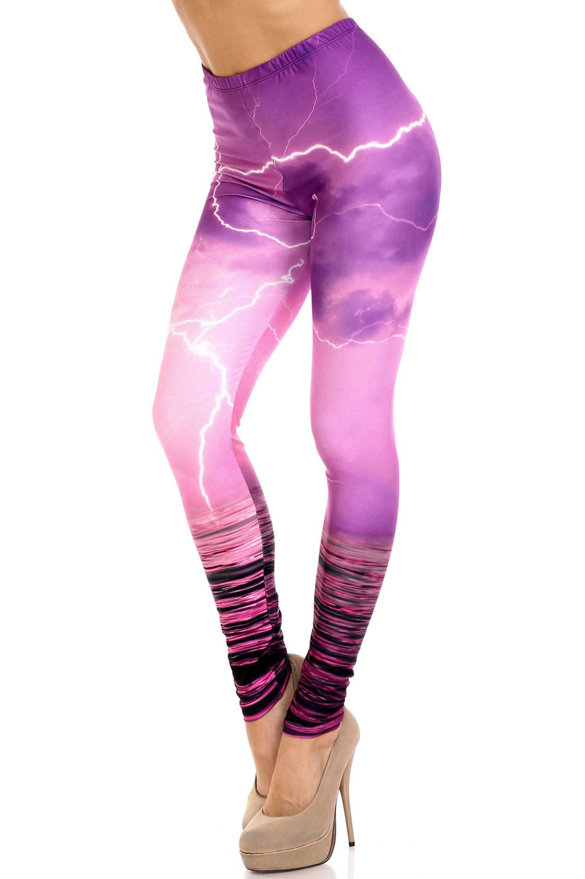 45 degree view of Creamy Soft Pink Lightning Storm Leggings - USA Fashion™ with a gorgeous purple and pink storm design.