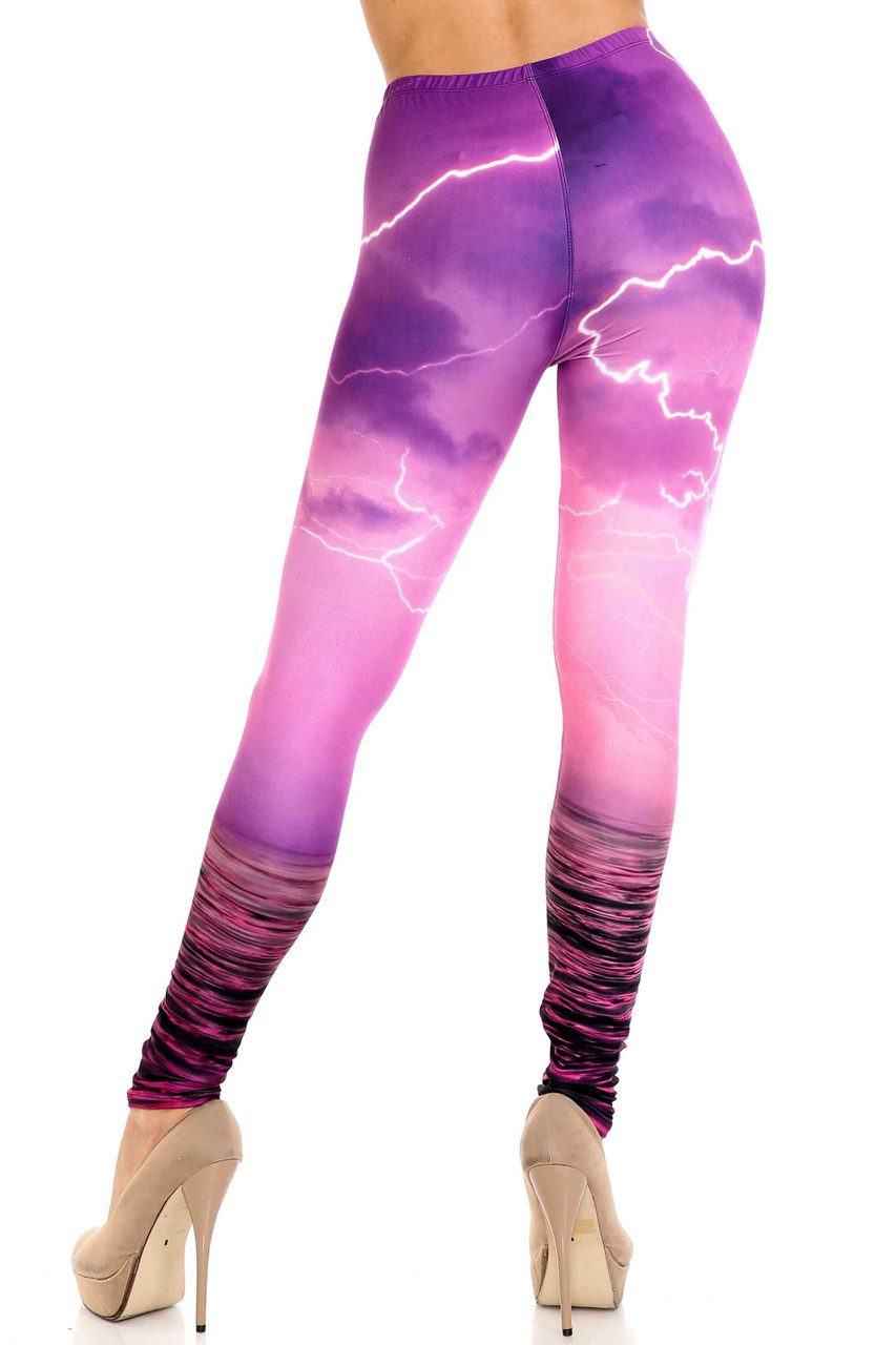 Rear view of Creamy Soft Pink Lightning Storm Leggings - USA Fashion™ showing a fabulous 360 degree colorful look and flattering fit.