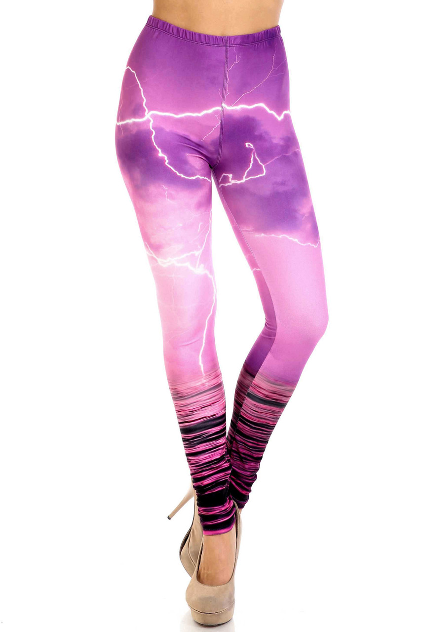 Front view of Creamy Soft Pink Lightning Storm Plus Size Leggings - USA Fashion™