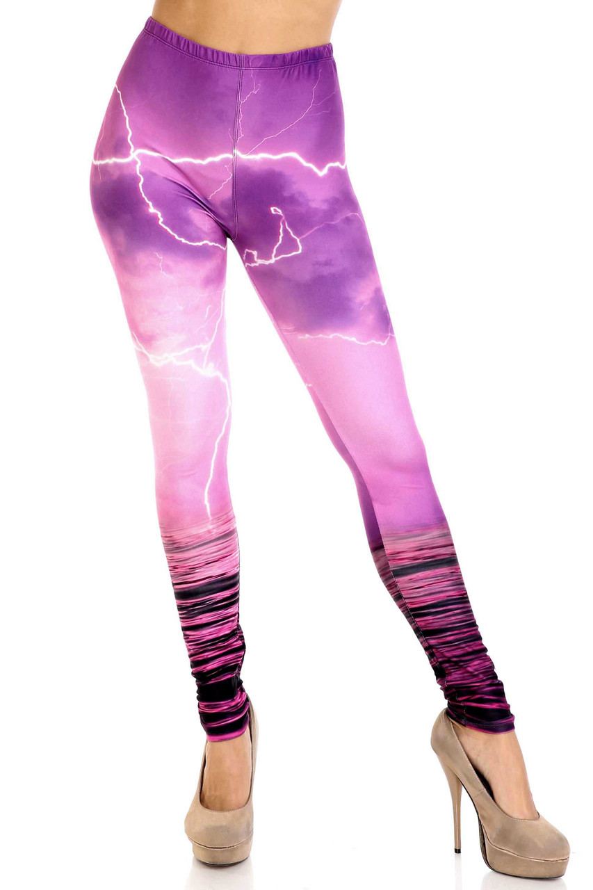 Front view of mid rise Creamy Soft Pink Lightning Storm Plus Size Leggings - USA Fashion™