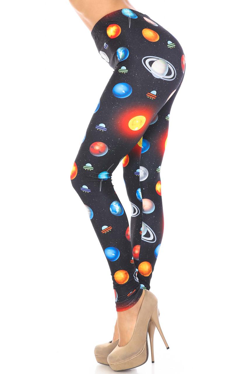 Left side view of Creamy Soft Galaxy Planets Plus Size Leggings - USA Fashion™