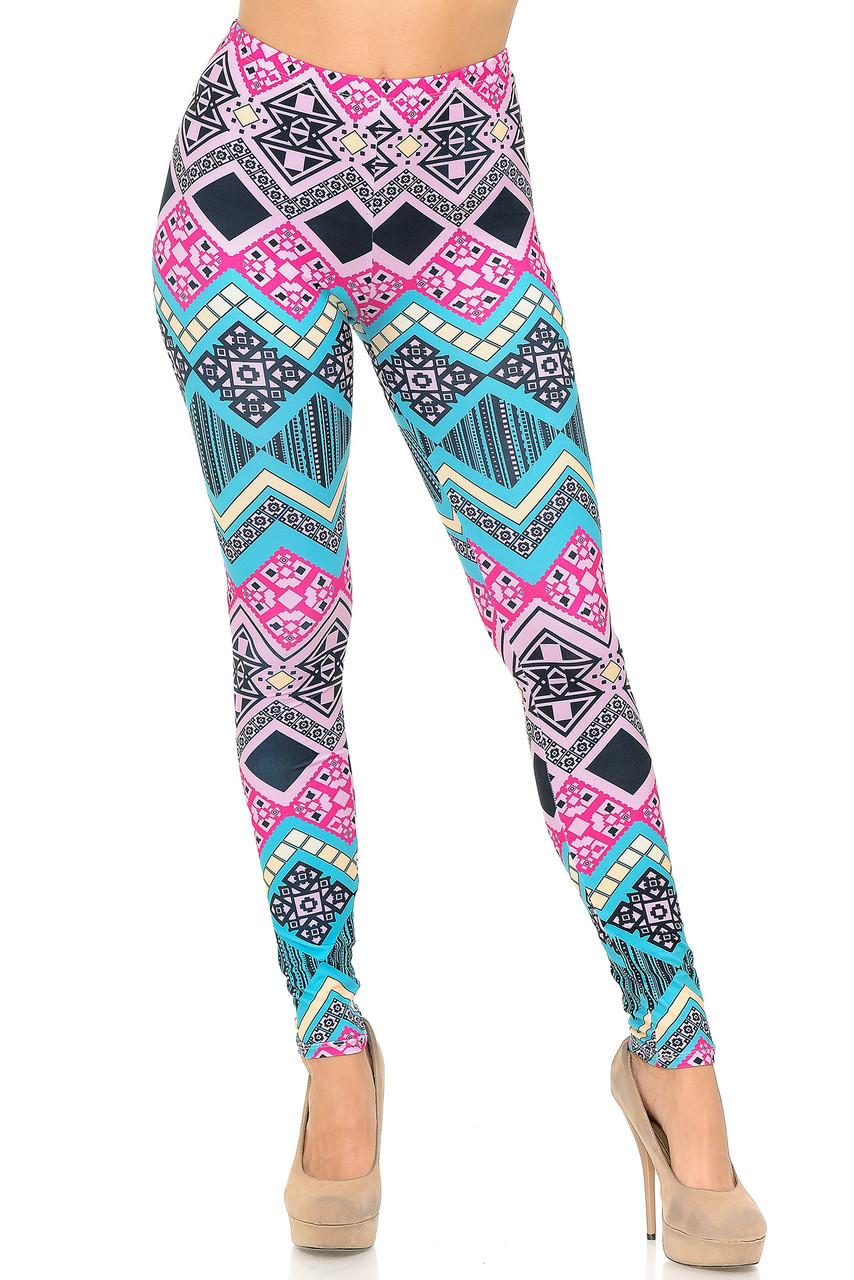 Front view of full length Creamy Soft Tasty Tribal Leggings - USA Fashion™ with an elastic mid rise waist.