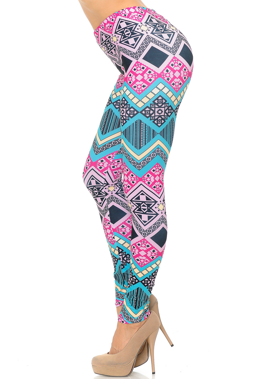 Left side of Creamy Soft Tasty Tribal Leggings - USA Fashion™