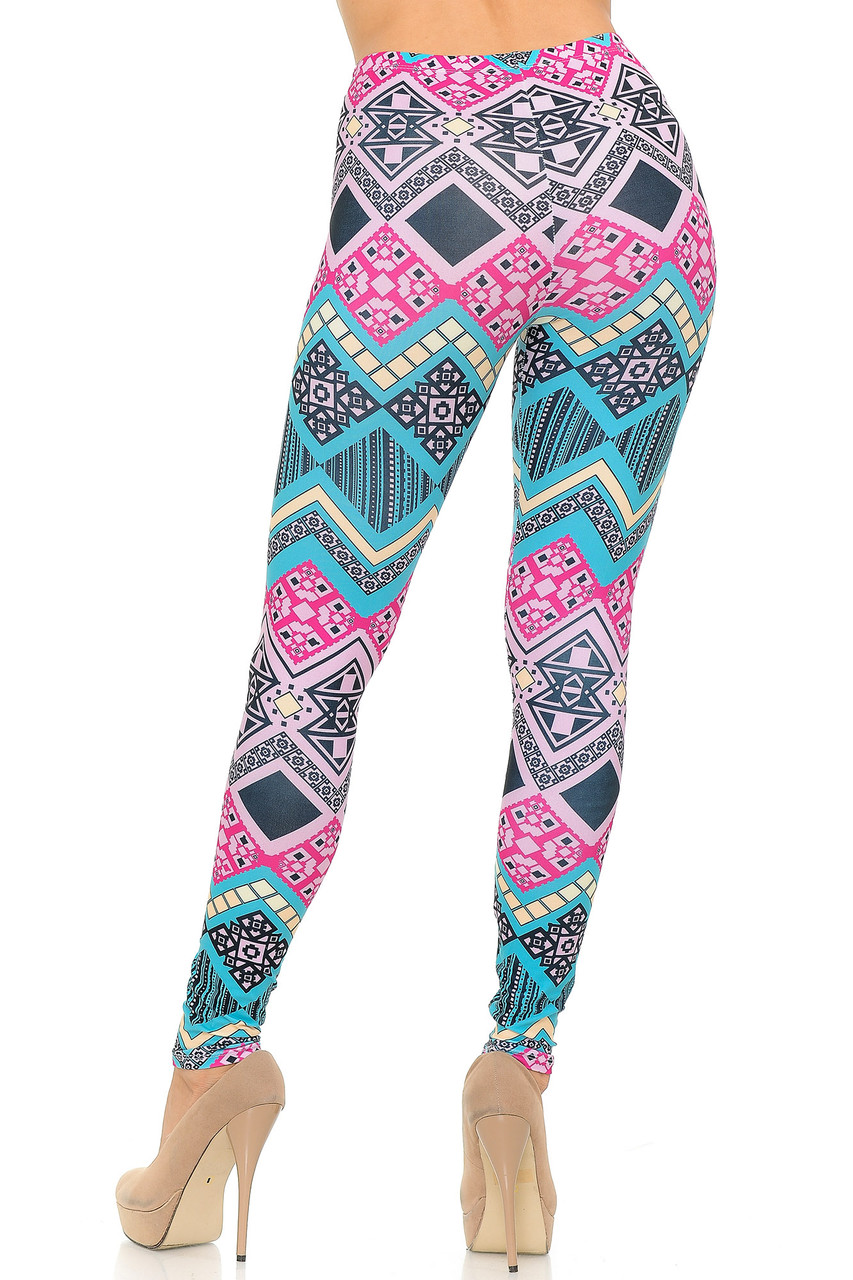 Back view of Creamy Soft Tasty Tribal Plus Size Leggings - USA Fashion™ showing off the figure flattering fitted look.