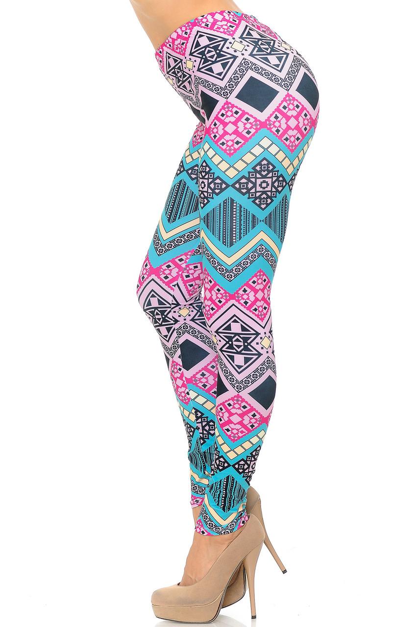 Left side of Creamy Soft Tasty Tribal Plus Size Leggings - USA Fashion™