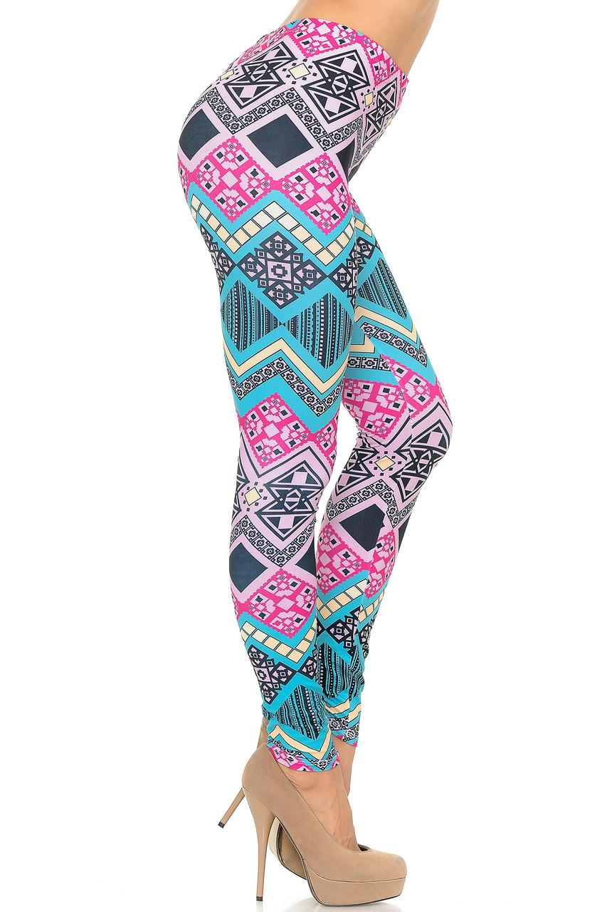 Right side of Creamy Soft Tasty Tribal Plus Size Leggings - USA Fashion™