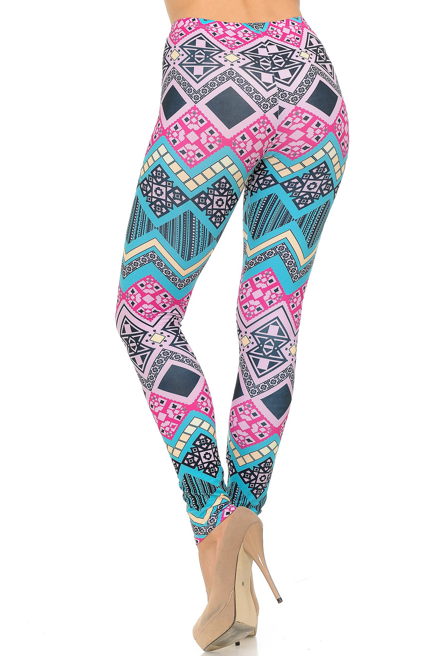 Back view of Creamy Soft Tasty Tribal Plus Size Leggings - USA Fashion™ showing off the continued all over print