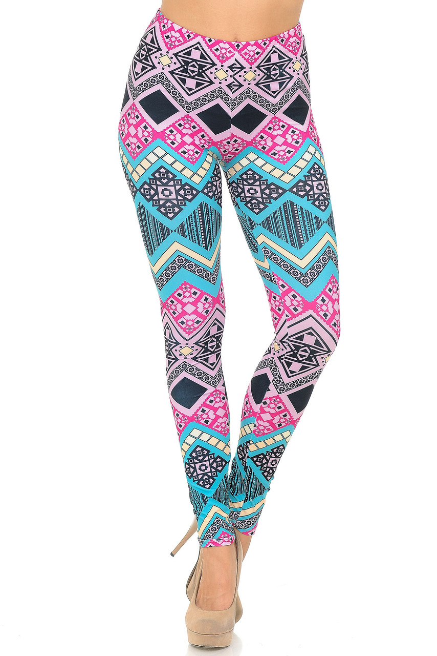 Front view of Creamy Soft Tasty Tribal Plus Size Leggings - USA Fashion™