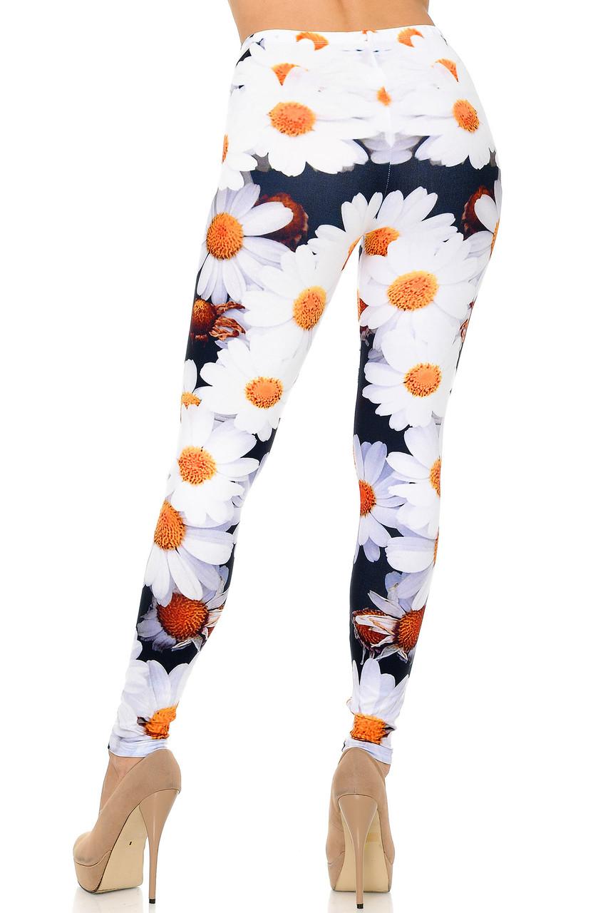 Back side image of Creamy Soft Daisy Bunch Plus Size Leggings - USA Fashion™