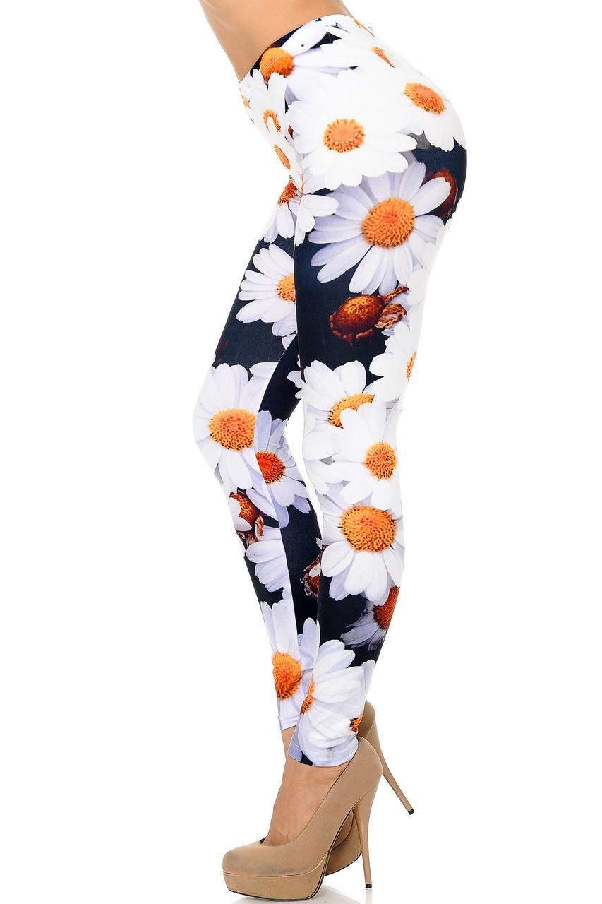 Left Side Image of Creamy Soft Daisy Bunch Plus Size Leggings - USA Fashion™