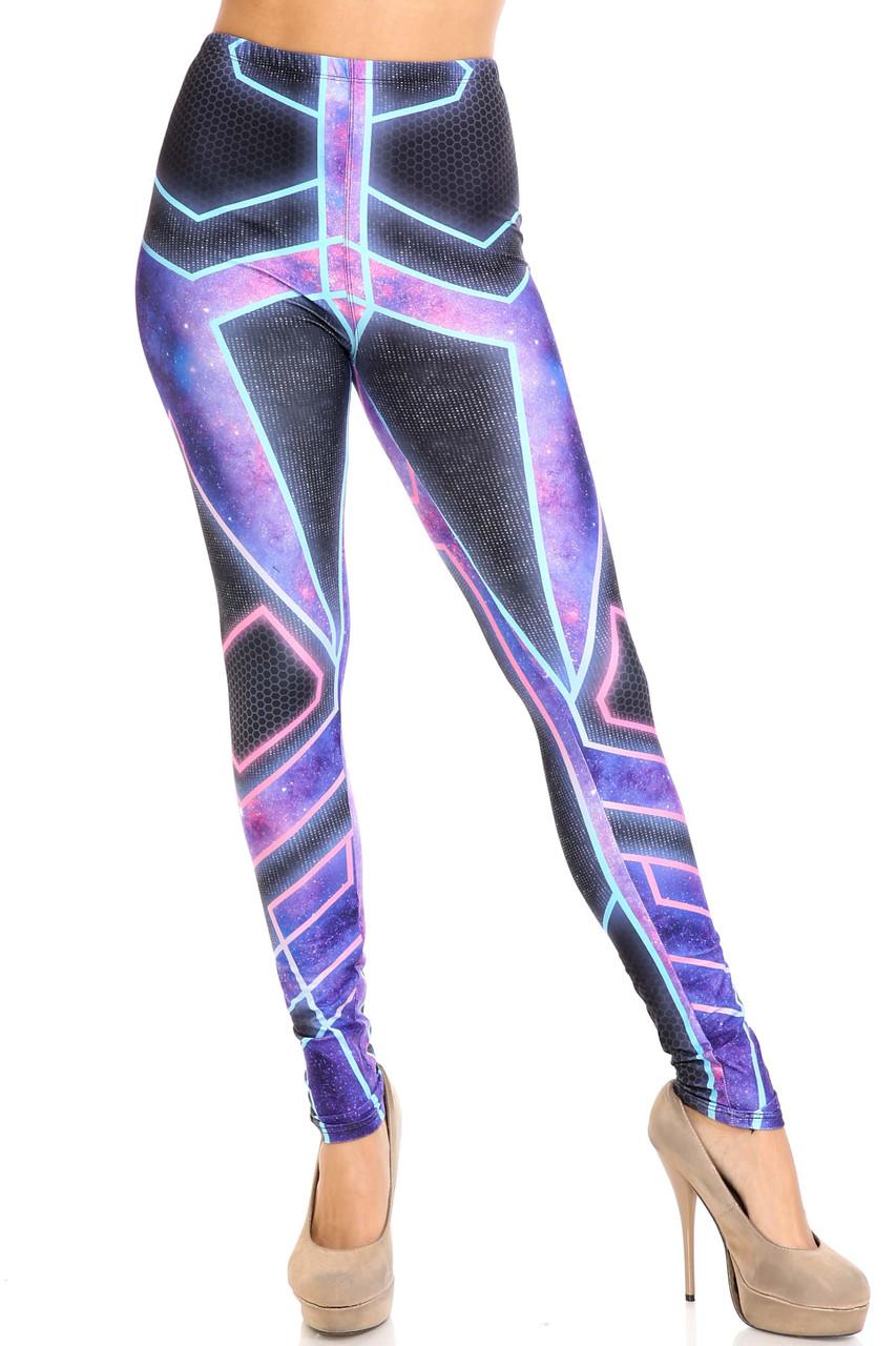 Front side image of Creamy Soft Futura Plus Size Leggings -  USA Fashion™ with a mid rise elastic waist.