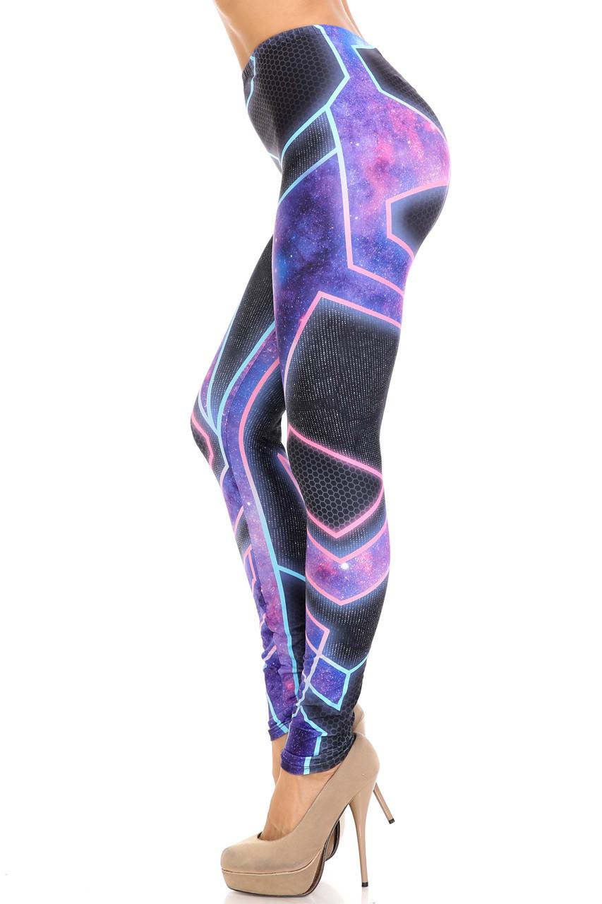 Left side of Creamy Soft Futura Plus Size Leggings - USA Fashion™