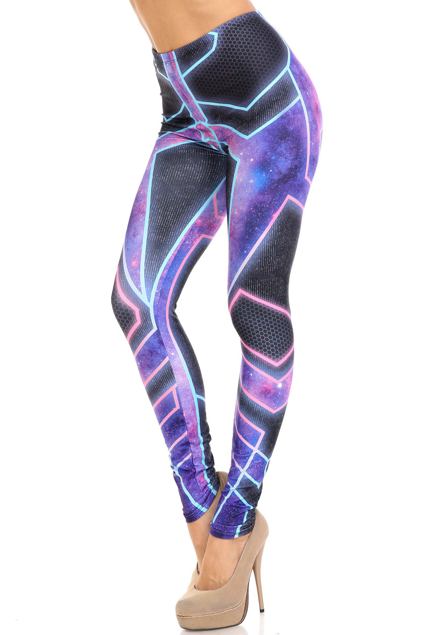 45 degree view of Creamy Soft Futura Extra Plus Size Leggings - 3X-5X - USA Fashion™ with an amazing and eye-catching futuristic galaxy armor inspired design.