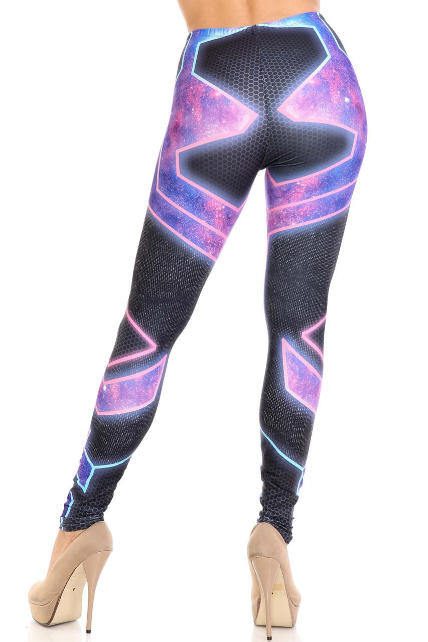 Rear view image of Creamy Soft Futura Extra Plus Size Leggings - 3X-5X - USA Fashion™ showing off the fabulous wrap around image