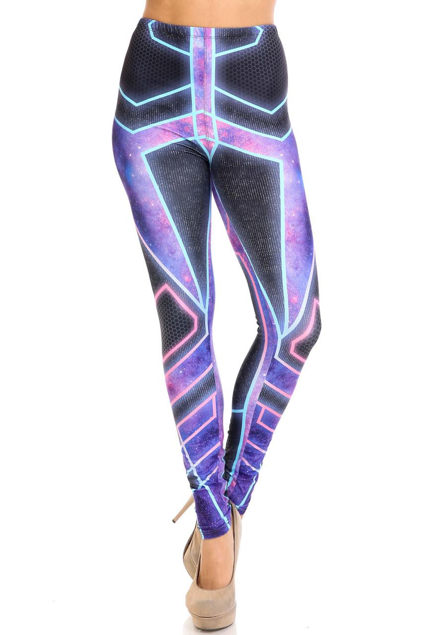 Front of skinny leg Creamy Soft Futura Extra Plus Size Leggings - USA Fashion™