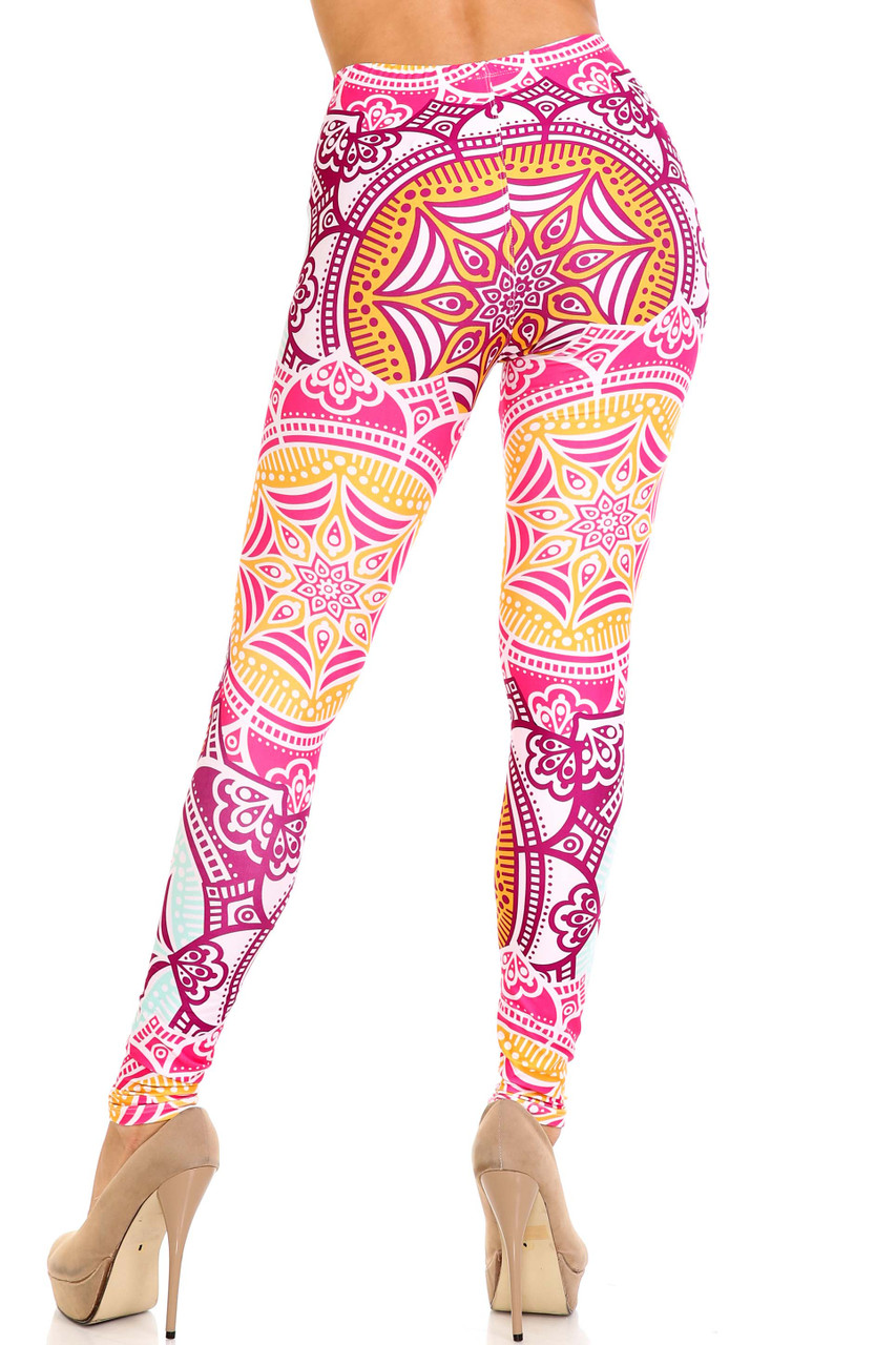Back side image of Creamy Soft Crimson Aquamarine Mandala Extra Plus Size Leggings - 3X-5X - USA Fashion™ with a flattering and fitted look.