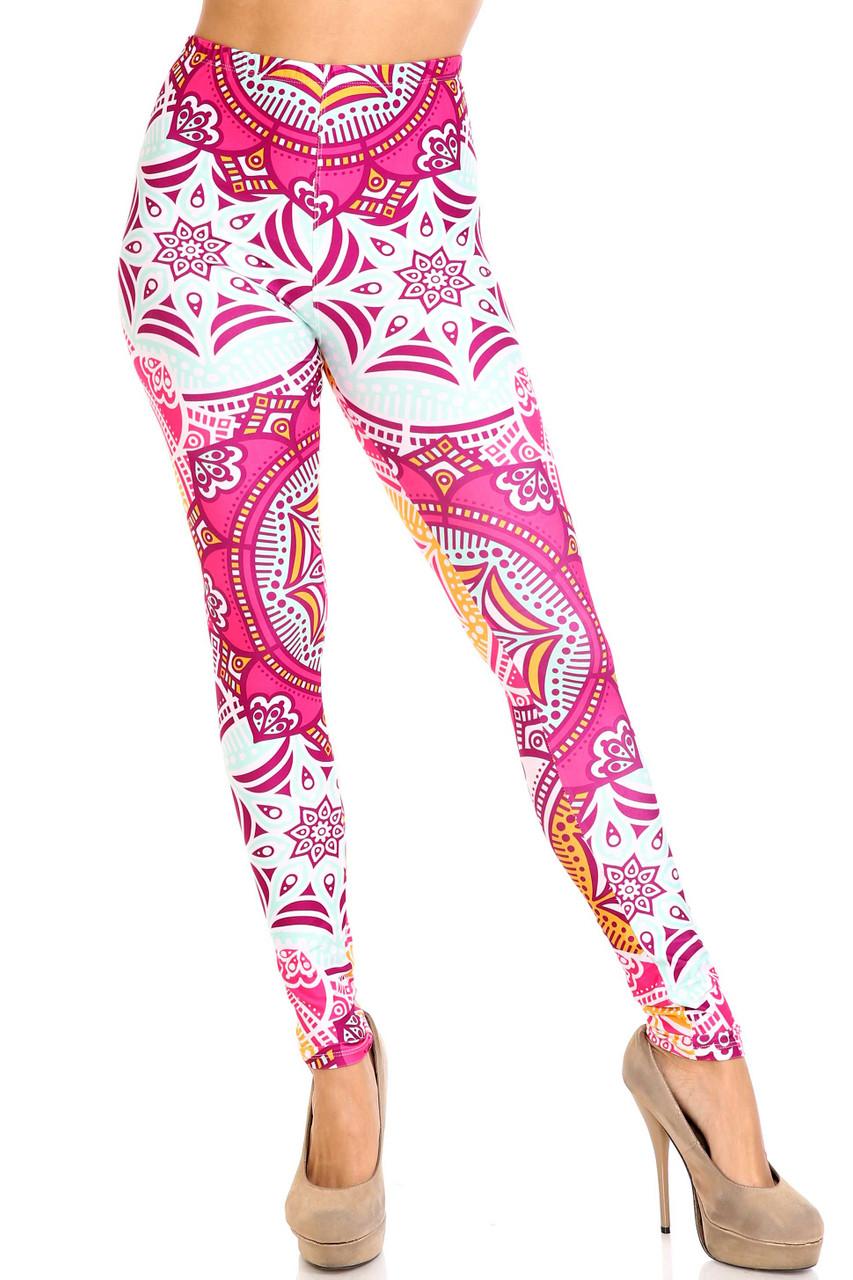 Front of Creamy Soft Crimson Aquamarine Mandala Extra Plus Size Leggings - 3X-5X - USA Fashion™ with a mid rise elastic waist.