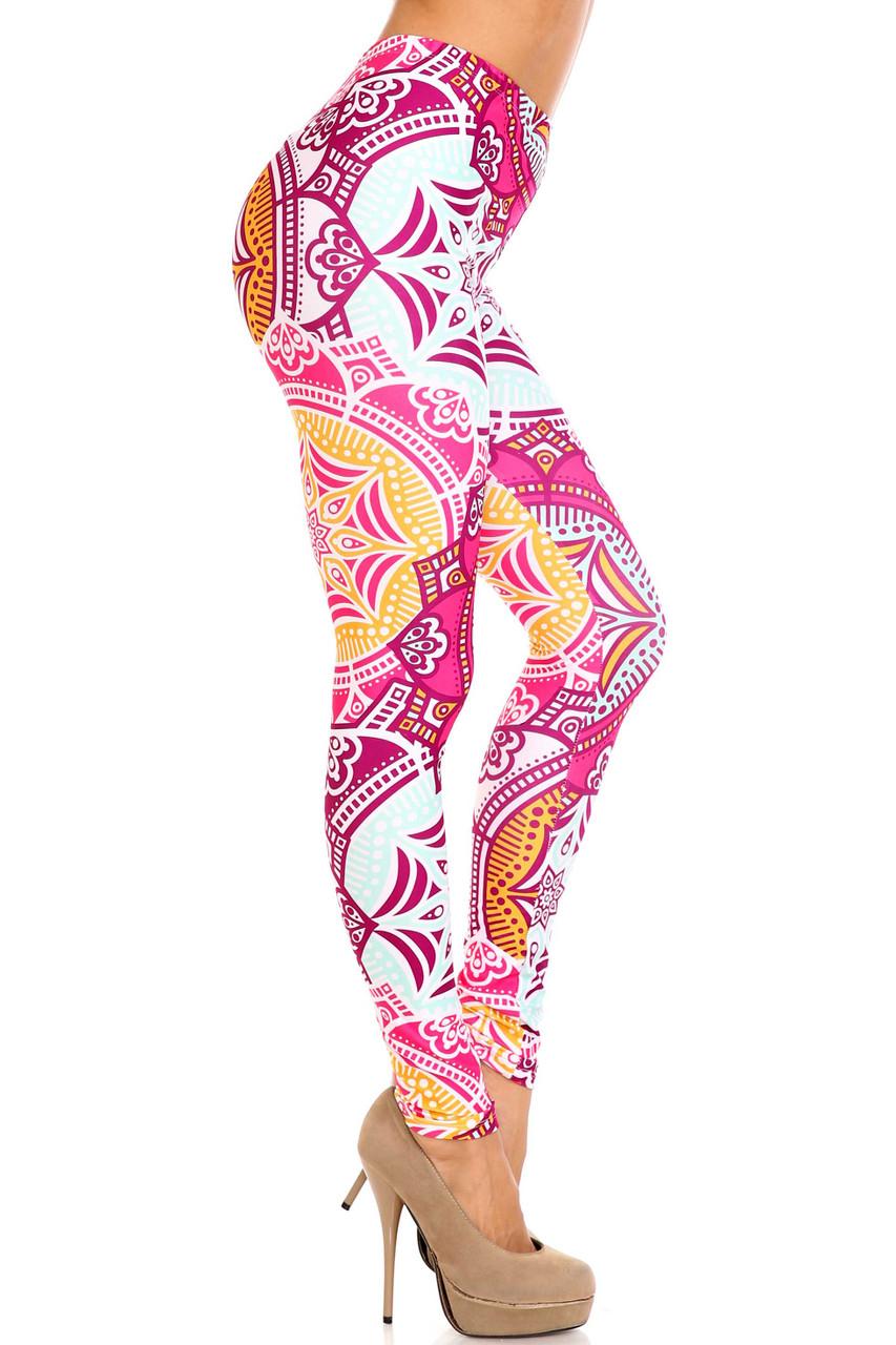 Right side of Creamy Soft Crimson Aquamarine Mandala Extra Plus Size Leggings - 3X-5X - USA Fashion™