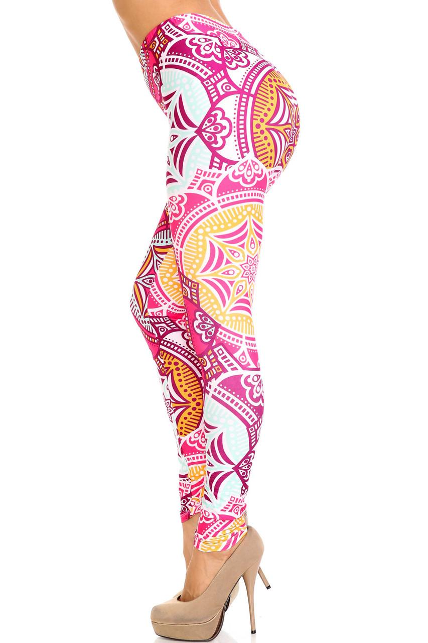 Left side of Creamy Soft Crimson Aquamarine Mandala Extra Plus Size Leggings - 3X-5X - USA Fashion™