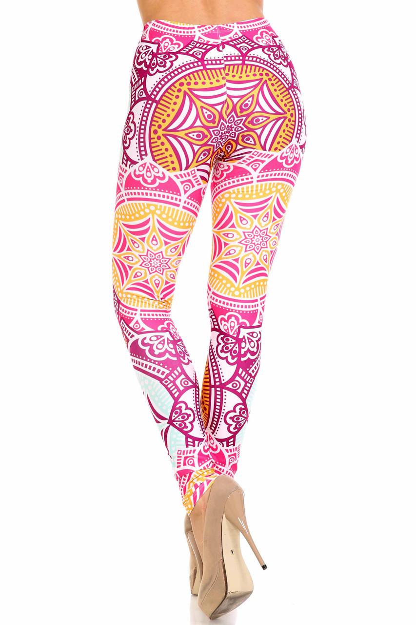 Rear view of Creamy Soft Crimson Aquamarine Mandala Extra Plus Size Leggings - 3X-5X - USA Fashion™ with a full length skinny leg fit.