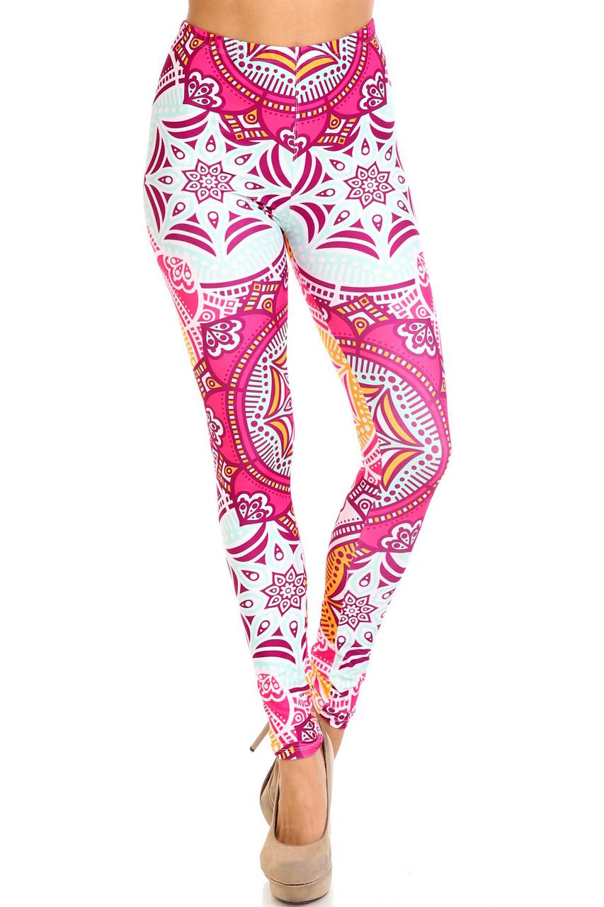 Front side image of Creamy Soft Crimson Aquamarine Mandala Extra Plus Size Leggings - 3X-5X - USA Fashion™ with a fabulous 360 degree design.