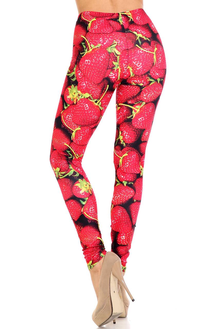 Back side image of Creamy Soft Strawberry Extra Plus Size Leggings - 3X-5X - USA Fashion™