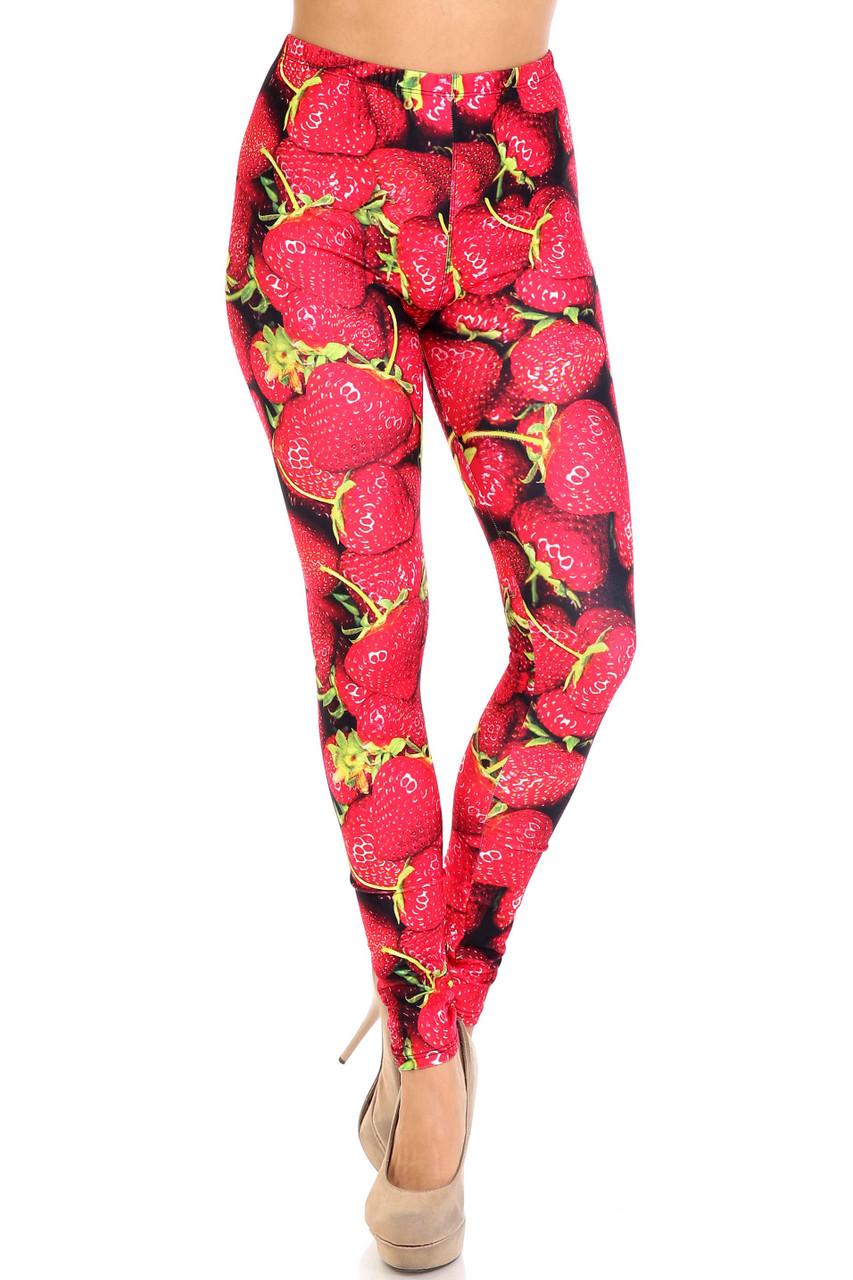 Front side image of Creamy Soft Strawberry Extra Plus Size Leggings - 3X-5X - USA Fashion™